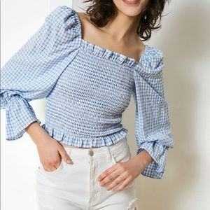 J.ING Amelia Blue Country Blouse